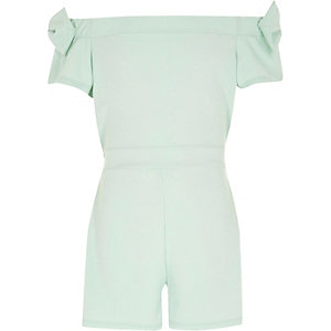 Girls green bow sleeve bardot romper