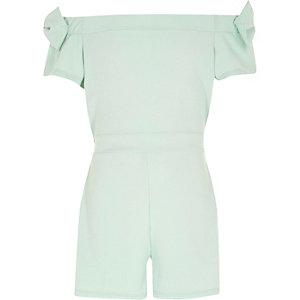 Groene bardotplaysuit met strik op de mouwen voor meisjes