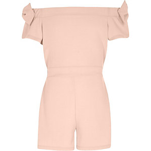 Girls pink bow sleeve bardot romper