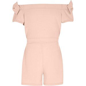 Roze bardotplaysuit met strik op de mouwen voor meisjes