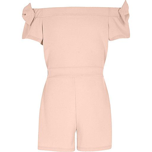 Girls pink bow sleeve bardot playsuit