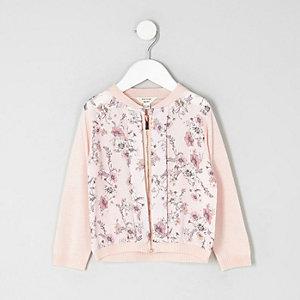 Cardigan à fleurs zippé mini fille