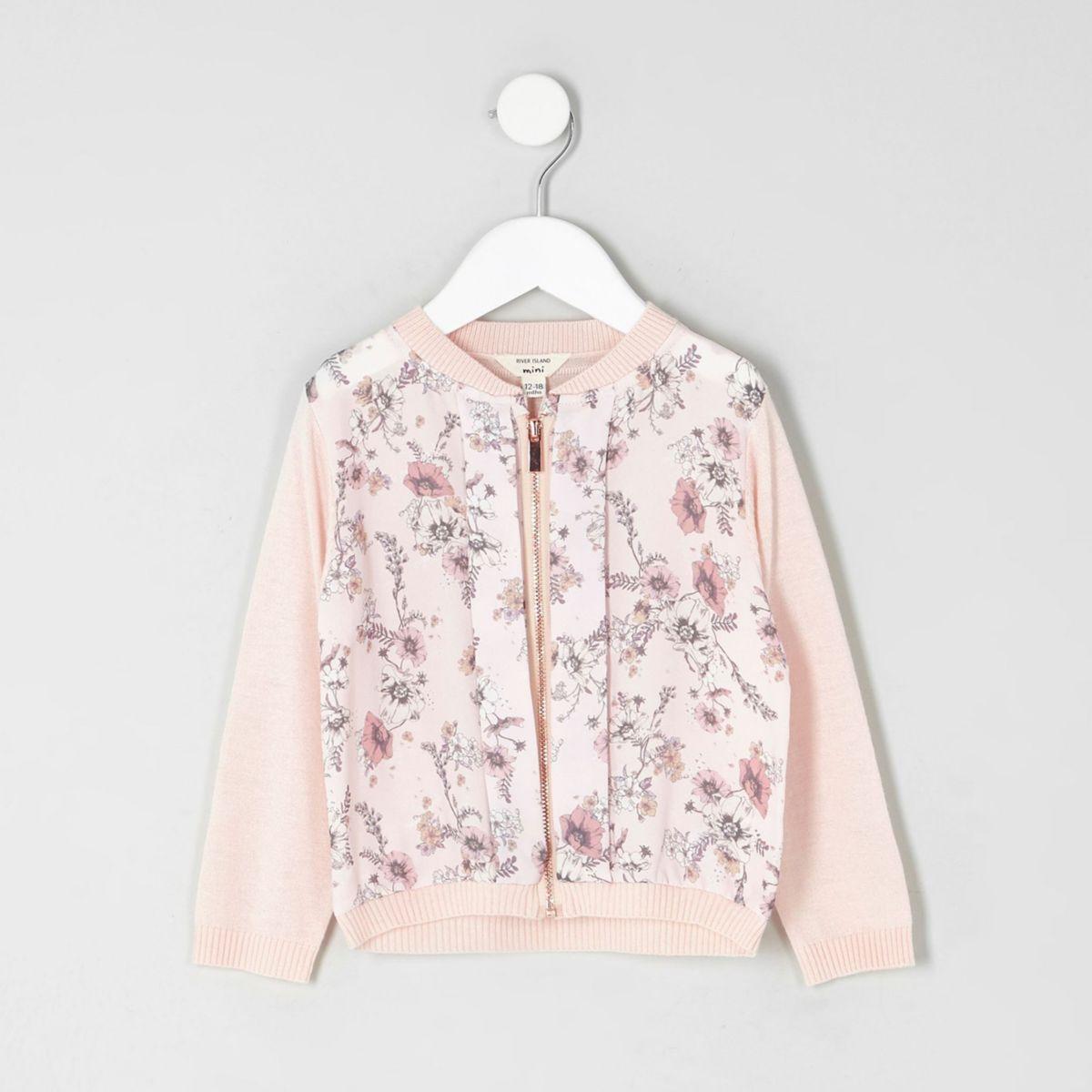 Mini girls floral print zip up cardigan