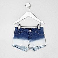 Mini girls blue dip dye denim shorts
