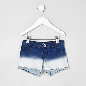 Mini girls blue dip dye denim shorts