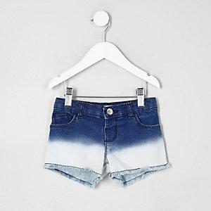 Short en jean bleu effet dip dye pour mini fille
