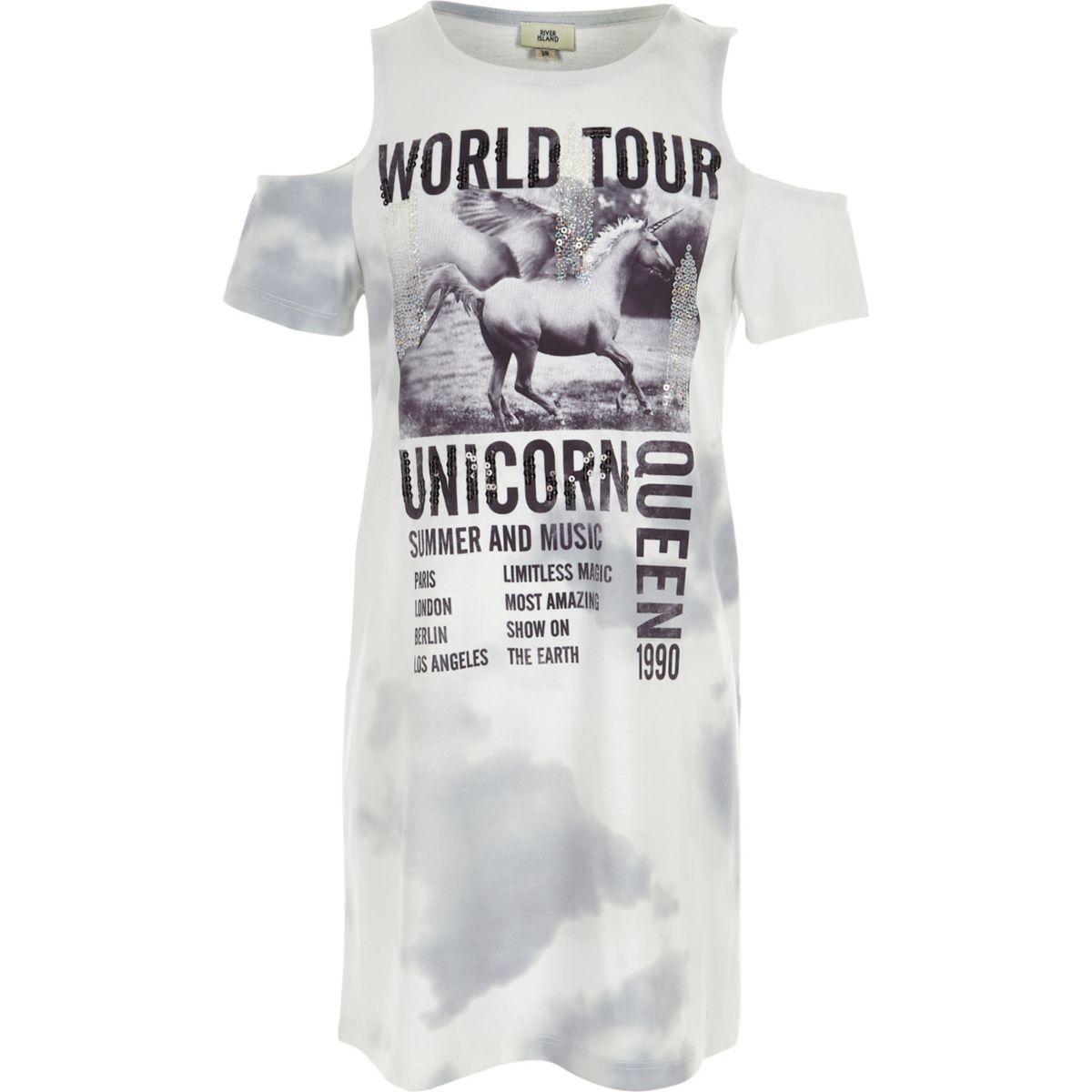 Girls white 'unicorn' tie dye T-shirt dress