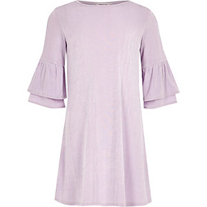 Girls purple frill sleeve swing dress