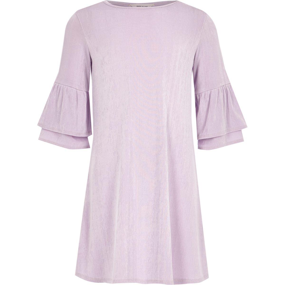 Girls purple frill sleeve swing dress