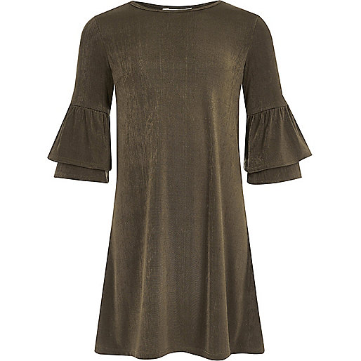 Girls khaki green frill sleeve swing dress