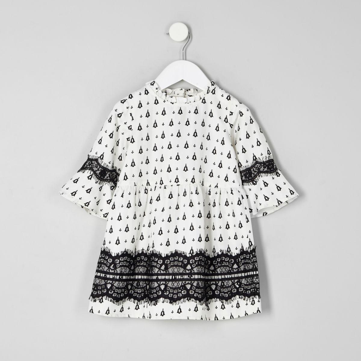 Mini girls white mono print lace dress