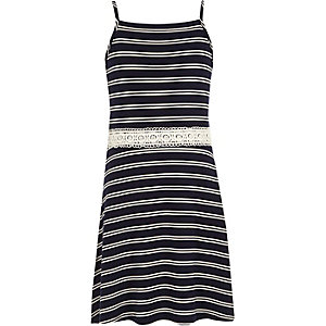 Girls white stripe crochet waist dress