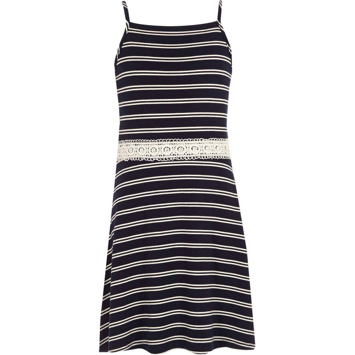 Girls white stripe crochet waist dress