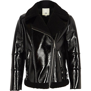 Girls black vinyl borg lined aviator jacket