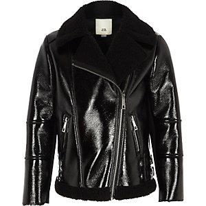 Girls black vinyl borg lined aviator jacket