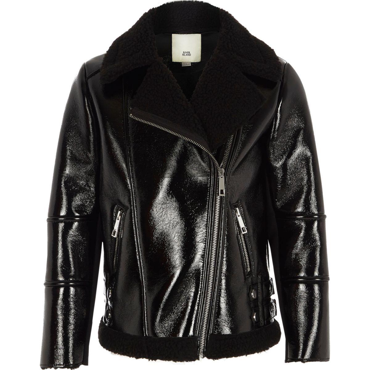 Girls black vinyl fleece lined aviator jacket