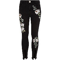 Girls black floral split hem Amelie jeans