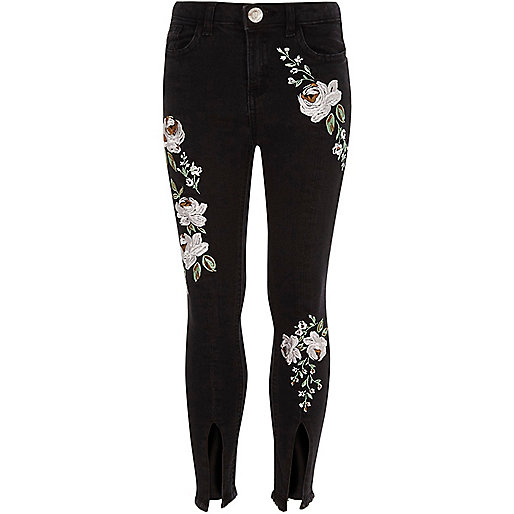 Girls black floral split hem Amelie jeans