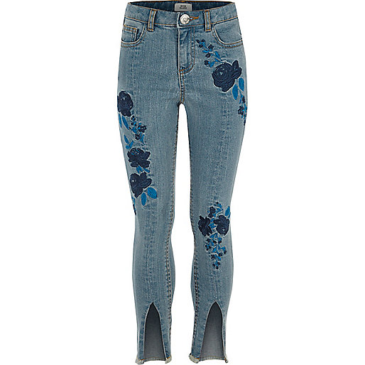 Girls blue Amelie embroidered jeans