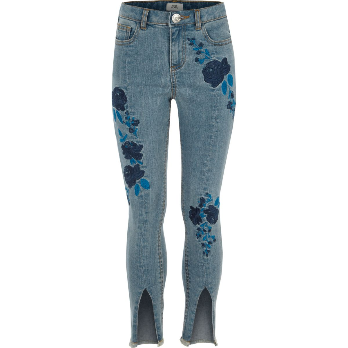 Girls Blue Amelie Embroidered Jeans - Denim - Sale - Girls