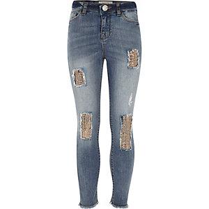 Amelie – Blaue Skinny Jeans mit Paillettenverzierung