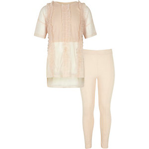 Girls light pink ruffle mesh T-shirt outfit