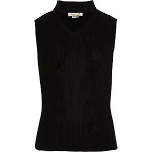 Top ras-de-cou en tricot noir sans manches