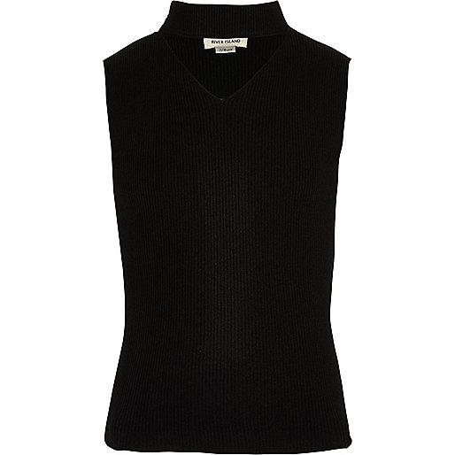 Girls black knit sleeveless choker top