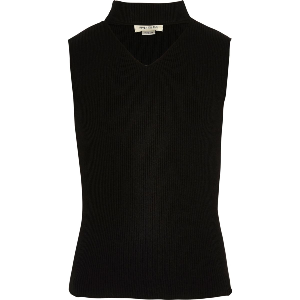 Girls black knit sleeveless choker top - Tops - Sale