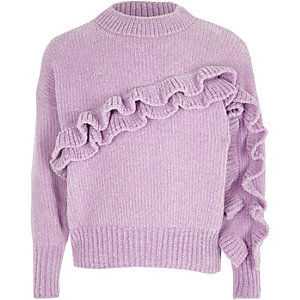 Girls light purple chenille frill sweater