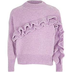 Pull en maille chenille violet clair à volants pour fille