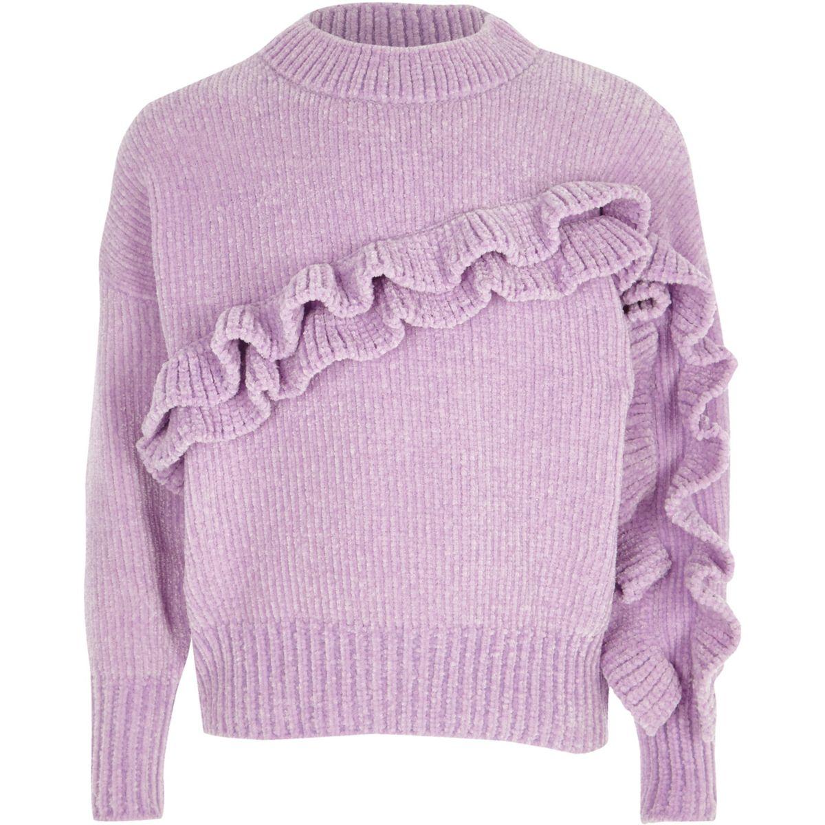 Chenille-Pullover mit Rüschen in hellem Lila