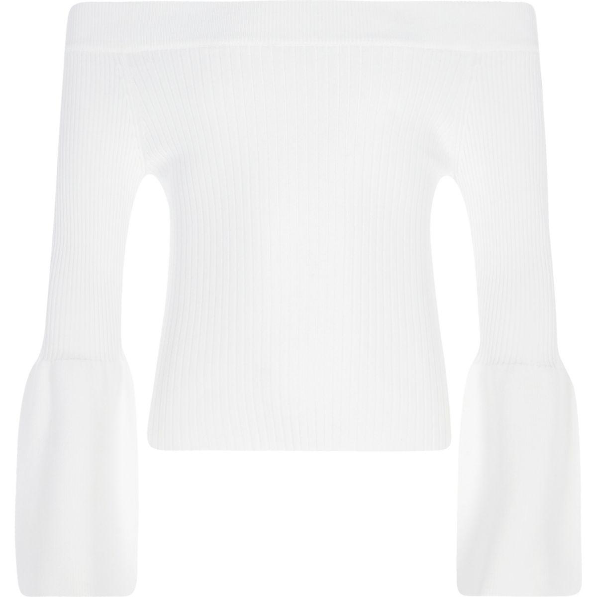 Girls white bell sleeve bardot top