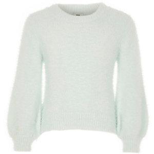Girls green fluffy balloon sleeve sweater