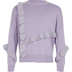 Girls purple glitter knit frill jumper