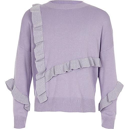 Girls light blue glitter knit frill jumper