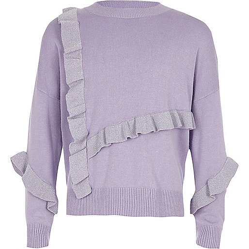 Girls purple glitter knit frill sweater