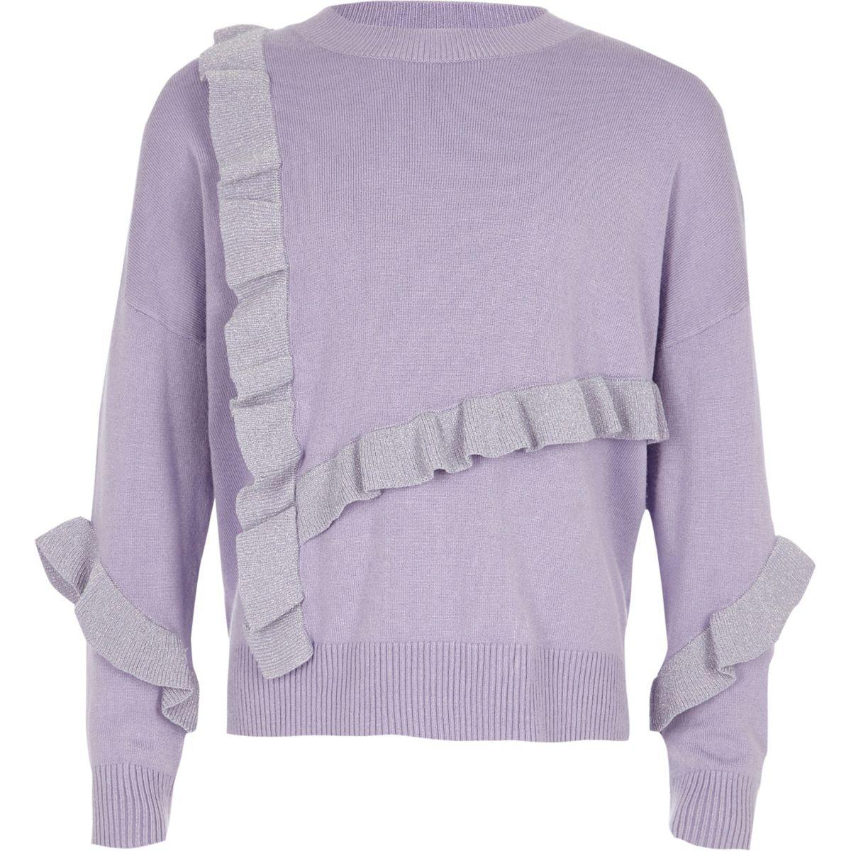 Girls purple glitter knit frill sweater