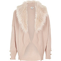 Girls pink faux fur collar cardigan