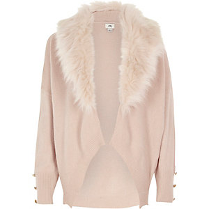 Girls pink faux fur collar cardigan