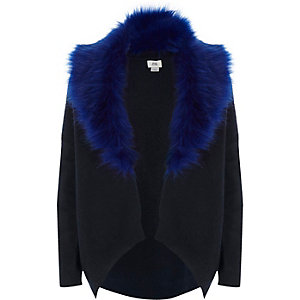 Girls navy fur collar cardigan