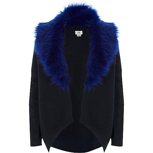 Girls navy faux fur collar cardigan