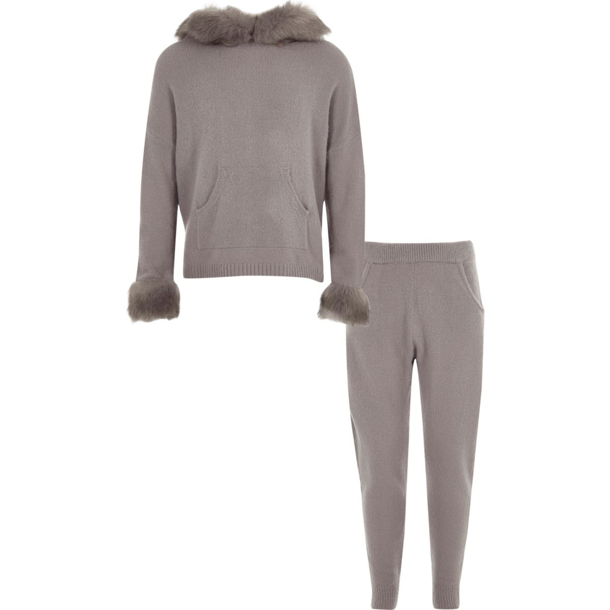 Girls grey faux fur knitted jogger outfit
