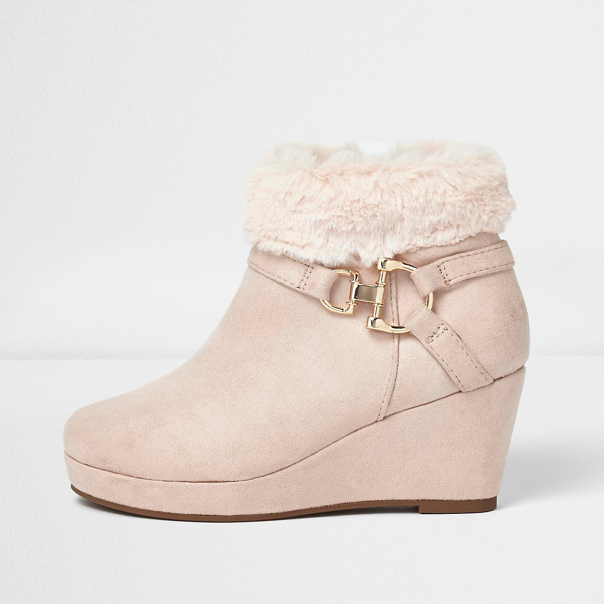 Girls pink faux fur top wedged ankle boot