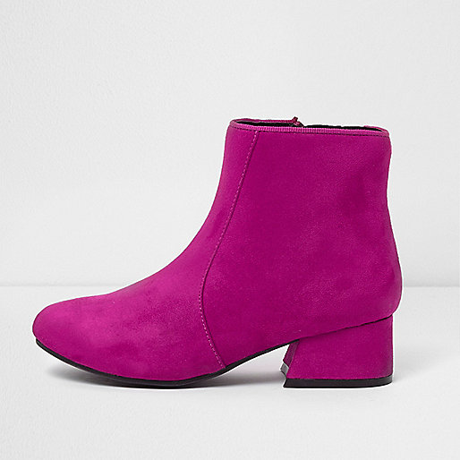 Girls bright pink block heel ankle boots