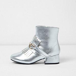 Zilverkleurige enkellaarsjes met loaferdetail voor meisjes