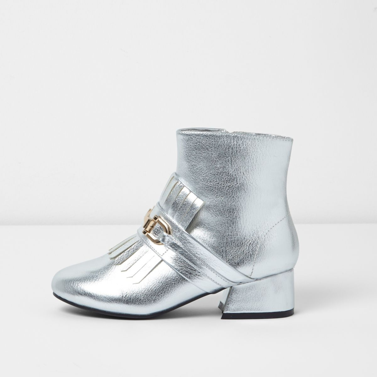 Girls silver loafer detail ankle boots