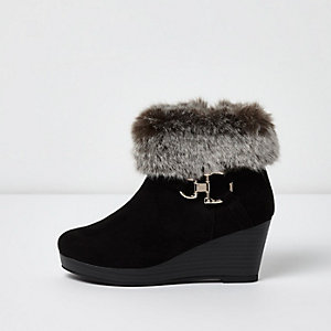 Girls black faux fur trim wedge boots