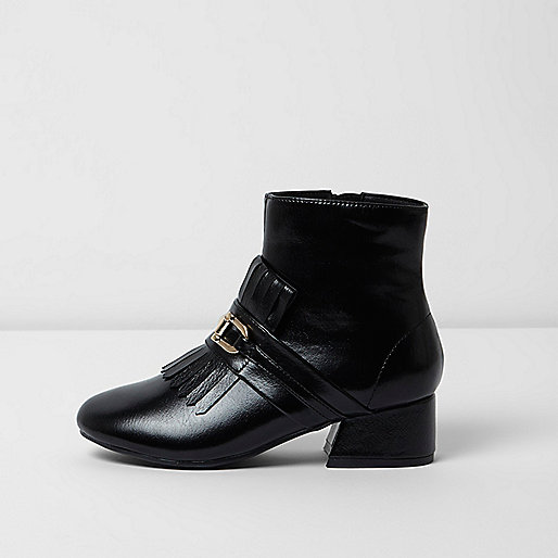Girls black loafer detail ankle boots