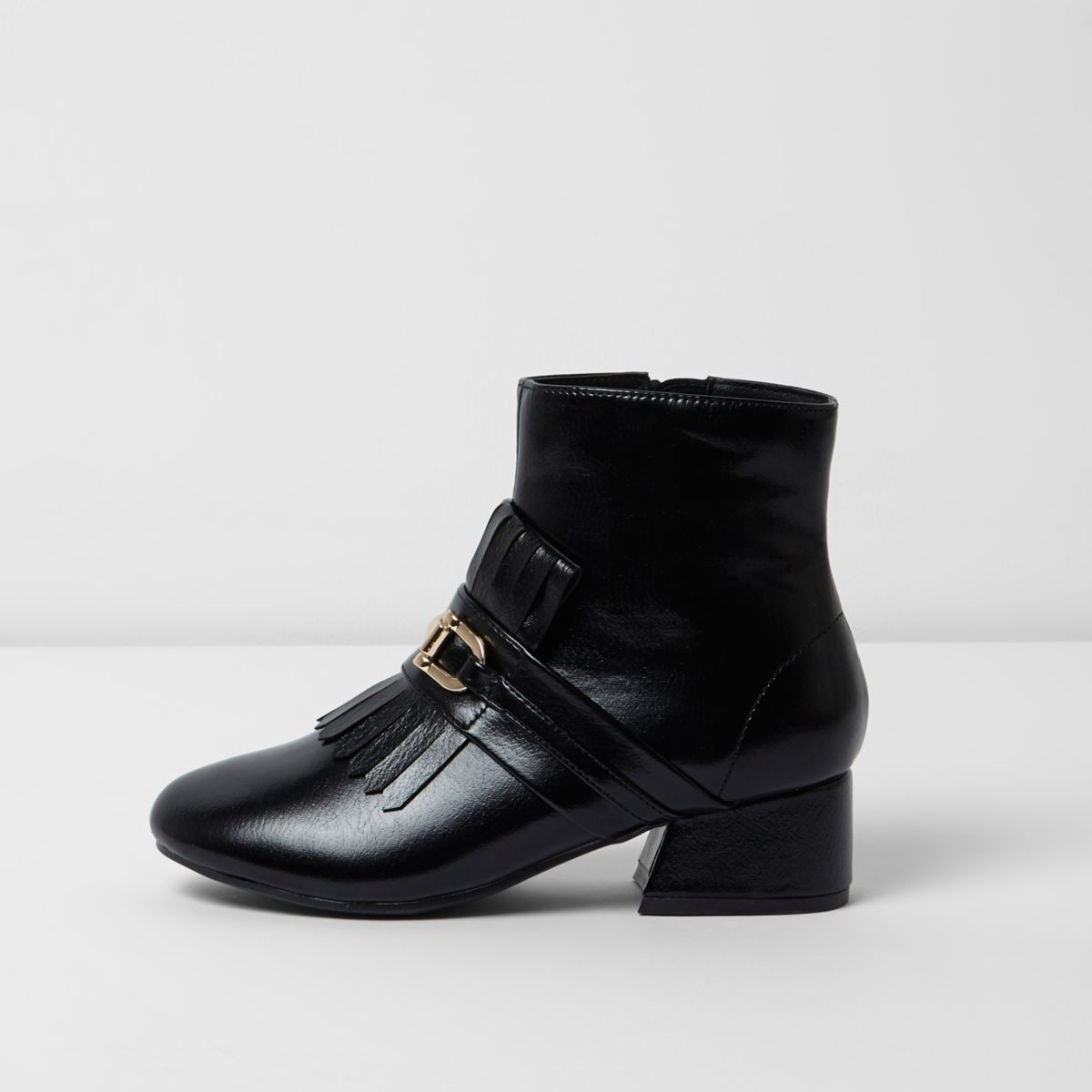 Girls black loafer detail ankle boots